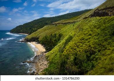 Mountain landscape with green coastal hills in Romblon, Philippines