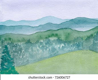 Mountain Landscape Hand Drawn Watercolor