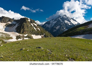 Mountain landscape with high mountains.