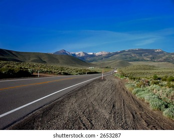 Mountain landscape, highway to California from Reno, Nevada.
