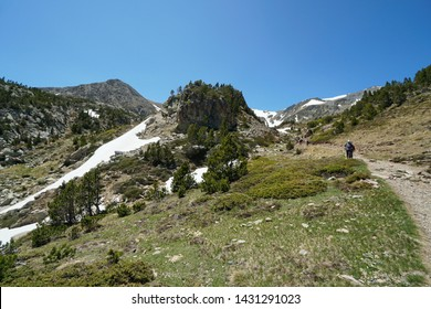 Mountain landscape hike near massif of Carlit, France, natural park of the Catalan Pyrenees, Pyrenees-Orientales