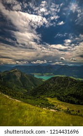 Mountain landscape with hiking trail and view of beautiful landscape over the Wolfgang see lake. Salzkammergut region, near Salzburg, Schafberg, Austria.