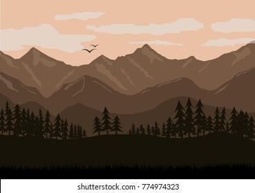 Mountain landscape illustration/Morning in the mountains illustration