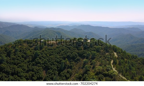 Mountain landscape. Island of cyprus Cedar Valley. The flight is high in the sky