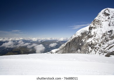 Mountain landscape at Jungfraujoch in Switzerland.