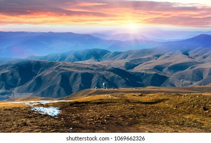 Mountain landscape in Kazakhstan near Almaty city
