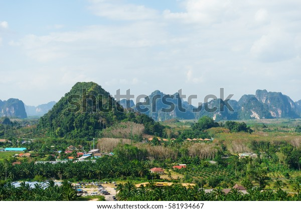 Mountain landscape in Krabi, Thailand, February 2017