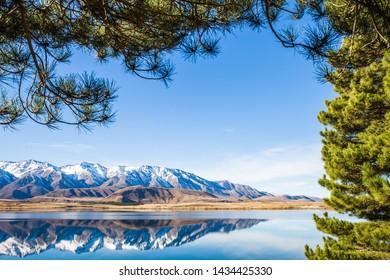 Mountain landscape, lake and mountain range, blue sky sunny day, lake image, beautiful New Zealand landscape view
