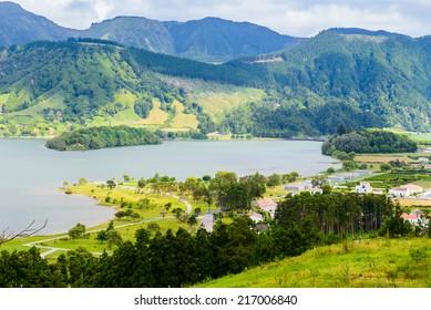 Mountain landscape and lake of Sete Cidades, Azores, Portugal Europe