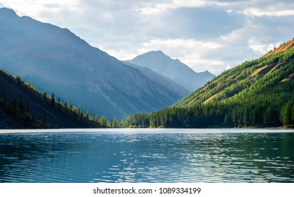 Mountain landscape. Mountain lake Shavlinskoe in the republic of Altai.