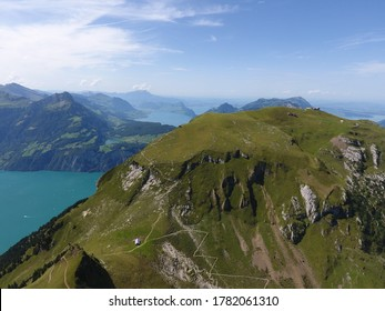 Mountain landscape with lake, Stoos, Switzerland