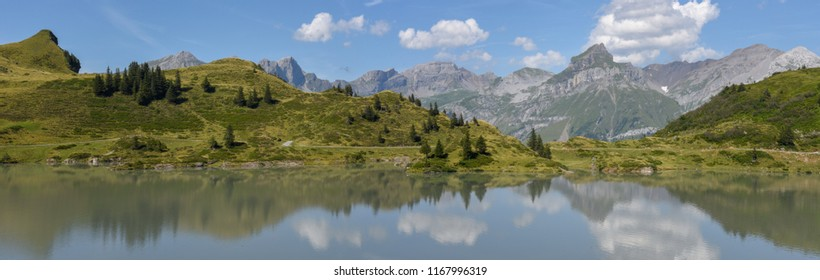 Mountain landscape of lake Truebsee over Engelberg on the Swiss alps