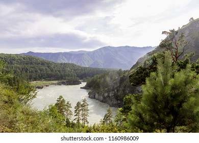 mountain landscape, lake in a warm sunny day