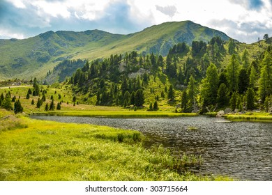 Mountain landscape, Lake Windebensee in Nockalmstrasse, Carinthia, Austria