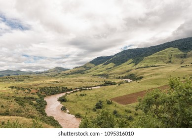 A mountain landscape with the Mkomazi River between Boston and Bulwer in the Kwazulu-Natal Province of South Africa