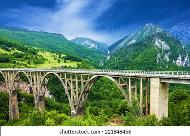 Mountain landscape, Montenegro. Durdevica Tara arc bridge in the mountains, One of the highest automobile bridges in Europe.