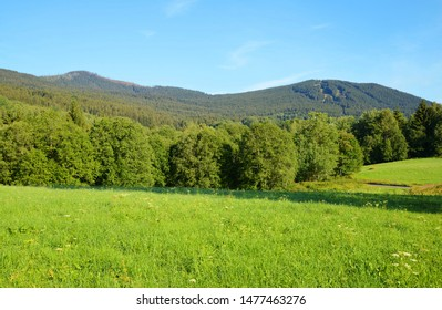 Mountain landscape in the national park Sumava. View on the mount Jezerni hora and Spicak. Czech Republic.