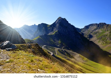 Mountain landscape near Col du Tourmalet in Pyrenees mountains. France