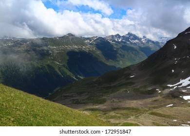 Mountain landscape near Jakobshorn summit, Davos, Switzerland