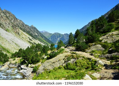 Mountain landscape near the town of Cauterets, national park Pyrenees . Occitanie in south of France.