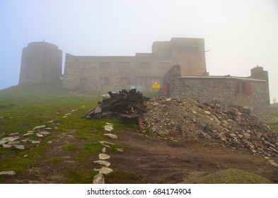 mountain landscape, old abandoned observatory on mount Pip Ivan in Carpathian mountains, Ukraine
