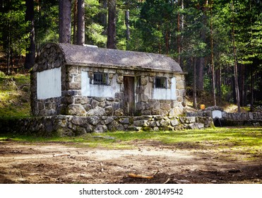 Mountain landscape. Old stone cottage in summer woods.