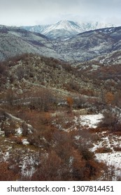 Mountain landscape on cloudy winter day. Balkans, Dinaric Alps, Montenegro, Sitnica region