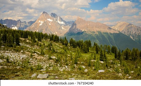 Mountain landscape on the Jumbo Pass Hike in the Purcell Mountain Range near Panorama and Invermere, British Columbia, Canada