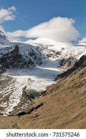 Mountain landscape on Kaiser Franz Josef glacier. Grossglockner High Alpine Road in Austrian Alps.