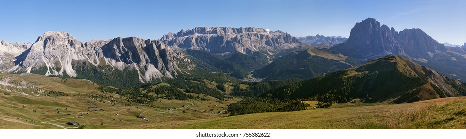 Mountain landscape on a sunny day, Dolomite Alps, Italy, panorama