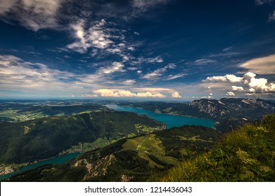 Mountain landscape on the top of the hiking trail to the Schafberg and view of beautiful landscape over the Attersee lake. Salzkammergut region near Salzburg, Schafberg, Austria.