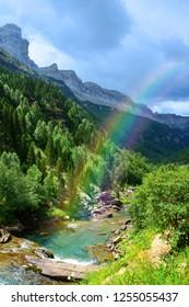 Mountain landscape in Ordesa y Monte Perdido National park, Huesca, Aragon, Spain.
