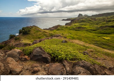 Mountain landscape with pacific ocean in the background, island Maui, Hawaii. Composition of natural background, bright green grass and blue sky with clouds