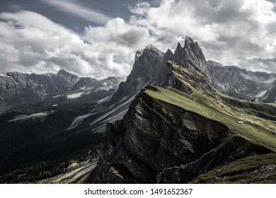 Mountain Landscape Panorama View To Seceda In South Tyrol Italy