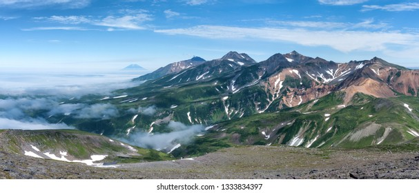 Mountain landscape at Paramushir Island, Kuril Islands, Russia. Karpinsky Group.