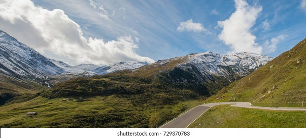 mountain landscape with a pass road , Furka, Switzerland