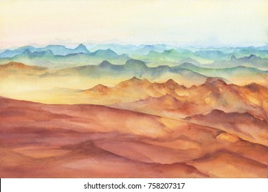 Mountain landscape peaks on sunset on panoramic view. Beautiful rocks and yellow sand desert, dune of the huge sizes. Watercolor hand drawn painting illustration isolated on white background.