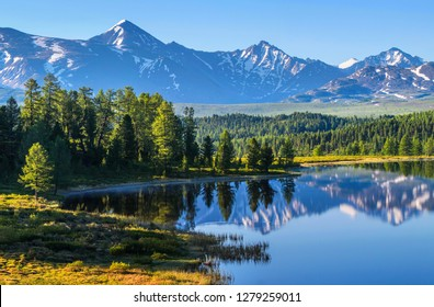 Mountain landscape, picturesque mountain lake in the summer morning, Altai