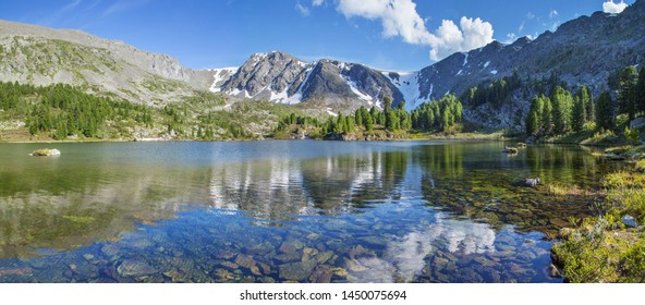 Mountain landscape, picturesque mountain lake in the summer morning, panoramic view, Altai