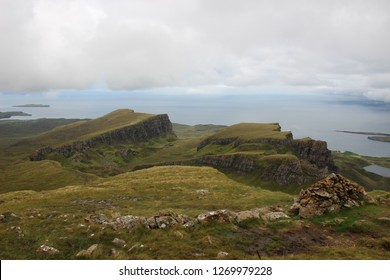 Mountain landscape in the Quiraing, with in the background the sea from the Isle of Skye in Scotland
