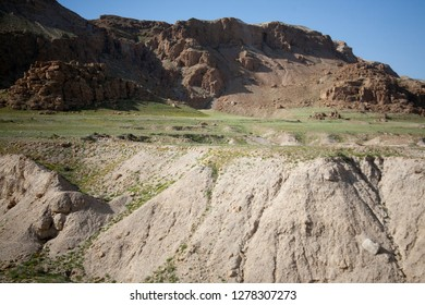 Mountain landscape of Qumran National Park on shores of the Dead Sea, Israel.