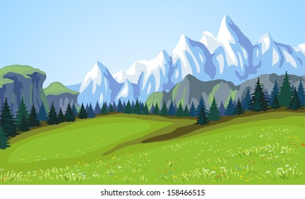 Mountain landscape. Raster version.