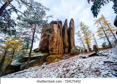 "Mountain landscape, reserve ""Stolby"", Russia, Siberia, Krasnoyarsk, fall first snow. Rock Feathers"