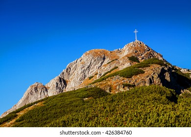 Mountain landscape with rocks and Giewont peak in Zakopane