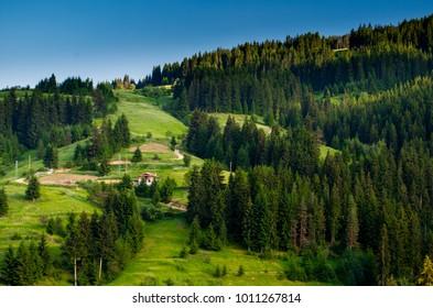 Mountain landscape in Rodopi Mountain, Eastern Europe.