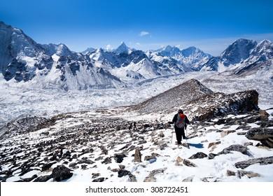 Mountain landscape in Sagarmatha National Park in the Nepal Himalaya