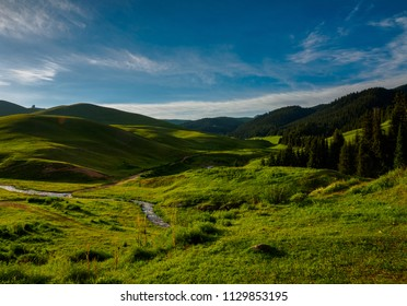Mountain landscape with scenic valley, Plateau Assy, Kazakhstan, near Almaty city.