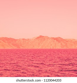 mountain landscape and sea. bright neon colors. minimal and surreal. summer vacation.
