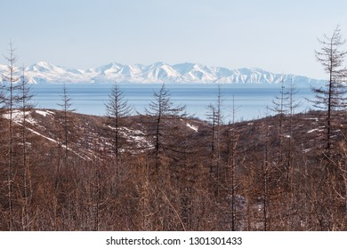 Mountain landscape the Sea of Okhotsk, Magadan, Russia