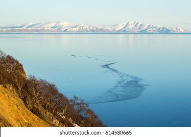 Mountain landscape, the Sea of Okhotsk, Magadan, Russia